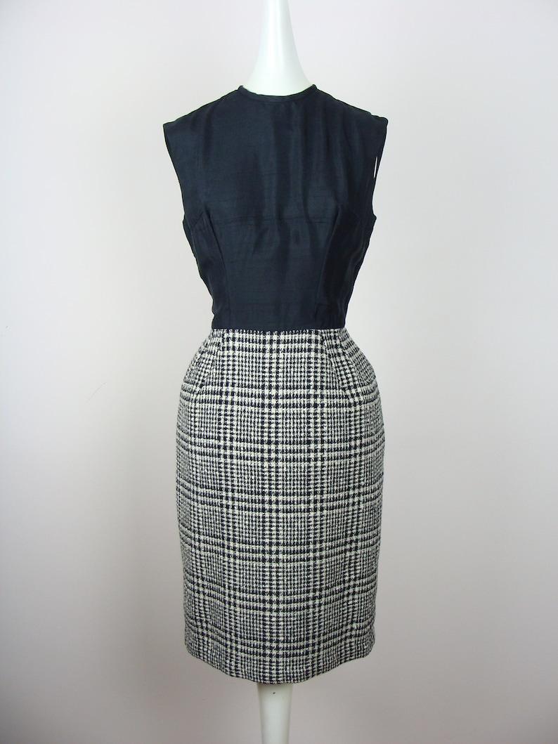 be91aca4523 Vintage Sheath Dress 50 s Wiggle Dress Plaid Boucle Shift
