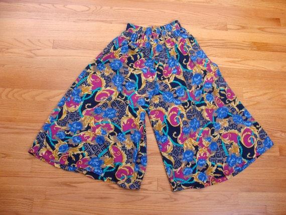 Vintage Wide Leg Pants 90s High Waisted Gaucho Cu… - image 3