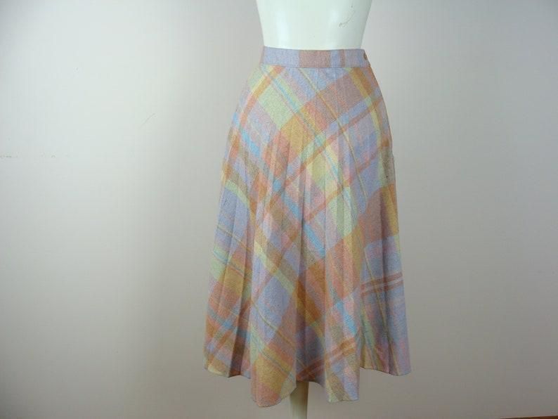 7f038ea255 Vintage Plaid Skirt 70's Pleated Wool A-line Midi High | Etsy