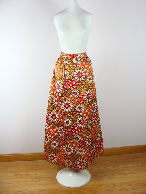 Vintage Quilted Maxi Skirt 60s Psychedelic Floral