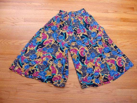 Vintage Wide Leg Pants 90s High Waisted Gaucho Cu… - image 5