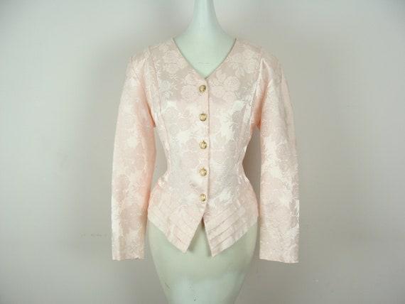 Vintage Brocade Blazer 80s Pink Button Details Flo