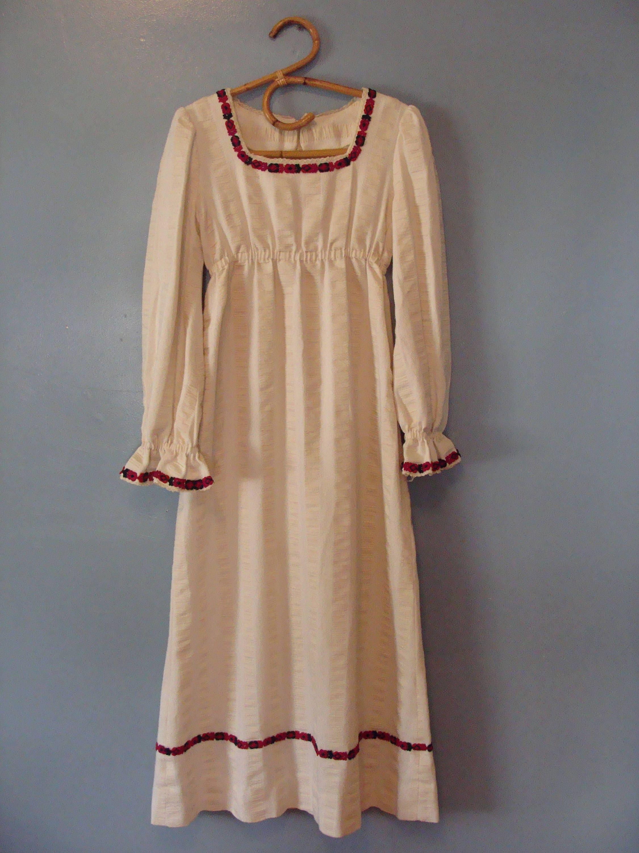 Vintage Prairie Dress 60s Peasant Dress Hippie Maxi Dress Handmade Long Sleeves Boho Textured Cotton 1960s Gypsy Festival Empire Waist