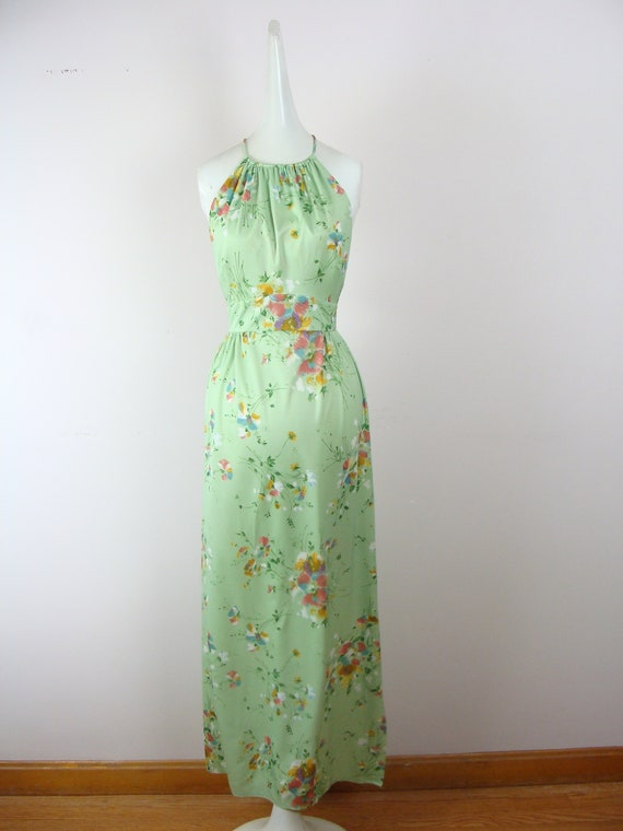 Vintage Dress 70s Floral Print Maxi Dress Halter K