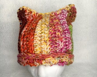 Rainbow Cat Hat, Multicolored Cat Beanie, Pink Crochet Hat, Pink Hat, Pink Beanie, READY TO SHIP