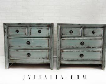 Vintage Modern Farmhouse Vintaged Teal Turquoise Patina Hand Painted Nightstands Pair