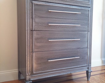 ZincGrey Hand Painted Industrial Style Metal Finish Tall Boy Dresser