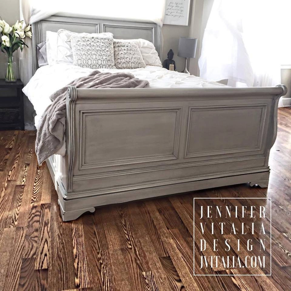 Sleigh Bed Gray Hand Painted Romantic Clean Lined Beds Etsy