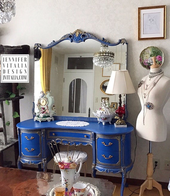 image 0 - Makeup Vanity Antique Vintage French Queen Anne Style Blue And Etsy