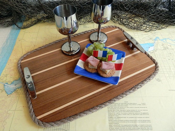 Wood Serving Tray - Beverage Tray - Cabin Sole Teak Holly Classic Wooden  Boat Nautical Decor - Stainless or Brass Boat Cleats - Marine Gift