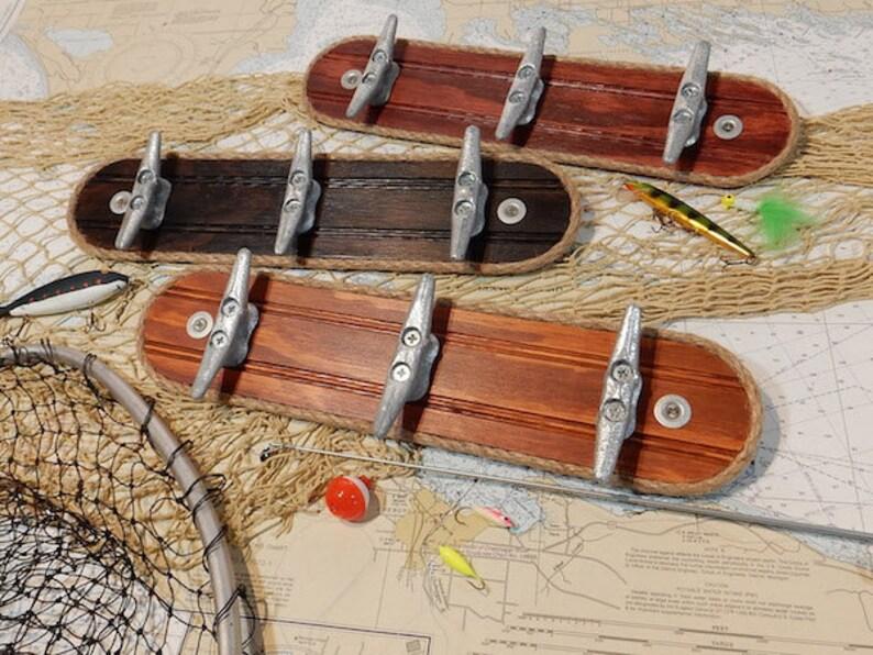 Fishing Hunting Gear Wall Hook Rack Rustic Nautical Hooks Etsy