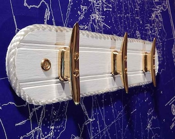 Brass Boat Cleat Wall Hook Rack - Nautical Beach Decor - Seaside Ocean Chic - White Coat Towel Hooks - Cottage Lakehome - Boat Rope Edge