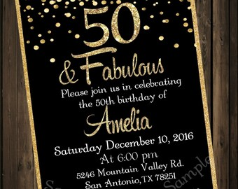 50 and fabulous invitations etsy 50 fabulous 50th birthday party birthday invitations milestone birthday 50th party invites custom black and gold digital file filmwisefo