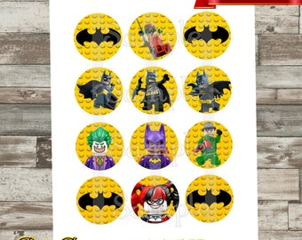Batman Cupcake Toppers, Bottle Cap Images, 2 inch, Cirlces, Party Decor, Stickers, Joker, Robin, Harley, Tags *Digital File