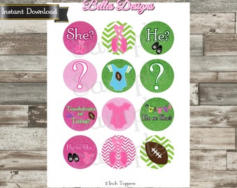 Gender Reveal Cupcake Toppers Touchdowns or Tutus, Bottle Cap Images, 2 inch, Cirlces, Party Decor, Stickers, Tags *Digital File*, Instant