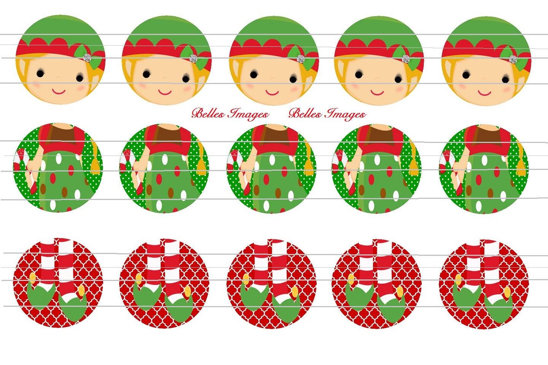 Bottle Cap Images Christmas Elf Girl Ornament 3 Piece 1