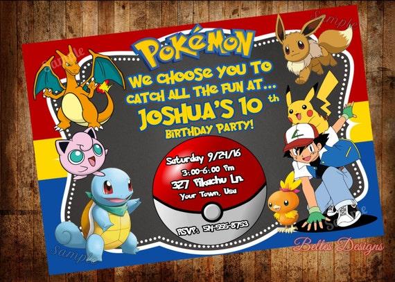 Pokemon Birthday Invitation Party Invitations