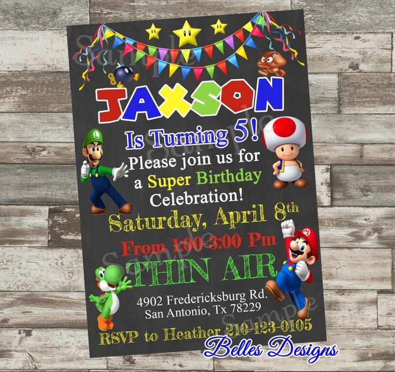 Mario Birthday Party Invitation Luigi Mario Brothers Party Super Mario Party Invites Boy Birthday Party Mario Birthday Digital File