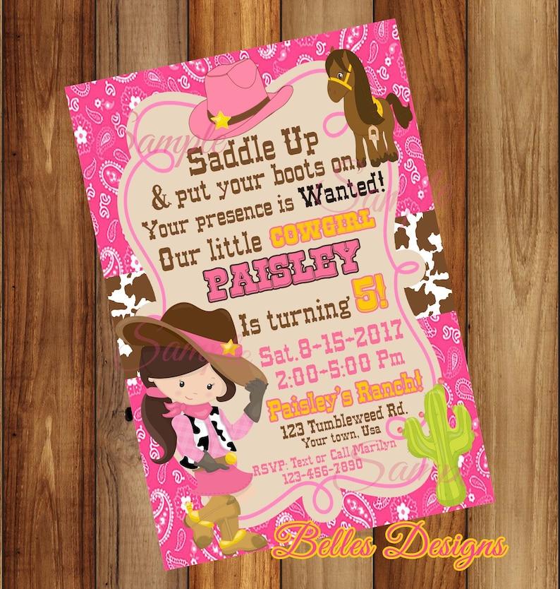 Cowgirl Birthday Invitations O Western Saddle Up Party Girl Digital Fileo