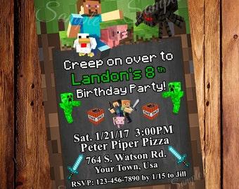 Mine Theme Birthday Invitation, Mine Party, Pixel Party Invites, Mine theme Party Invitation, Digital File