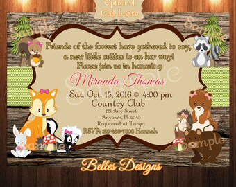 Woodland Critters Baby Shower Invitation, Woodland Creatures, Baby Girl, Baby Boy 5x7, 4x6, Digital File