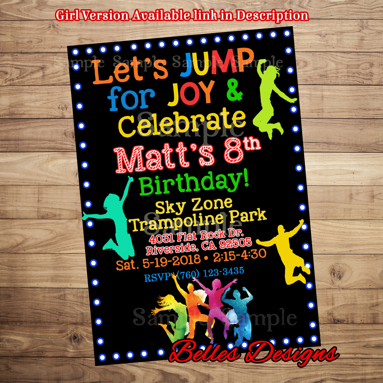 Trampoline Park Birthday Invitation Jump Party Invitations Etsy