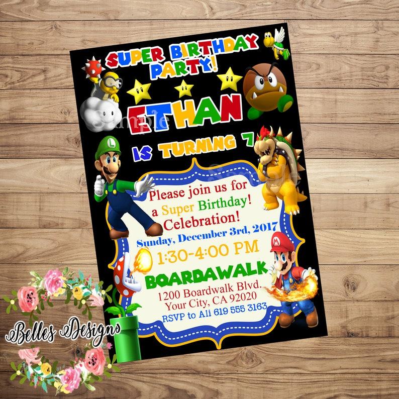 Super Mario Birthday Invitation Super Mario Invitation Mario Etsy
