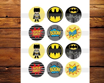 Batman Birthday Cupcake Toppers, Birthday Decor Supplies, Bottle Cap Images, 2 inch, Cirlces, Party Decor, Stickers, Tags Digital File