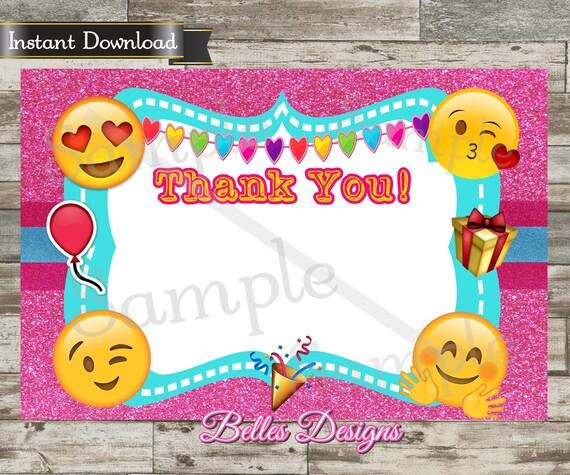 Emoji Thank You Card Birthday Blank