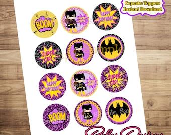 Batgirl Cupcake Toppers, Batgirl Bottle Cap Images 2 inch Cirlces, Superhero Cupcake Toppers, Superhero Party Decor, Digital File