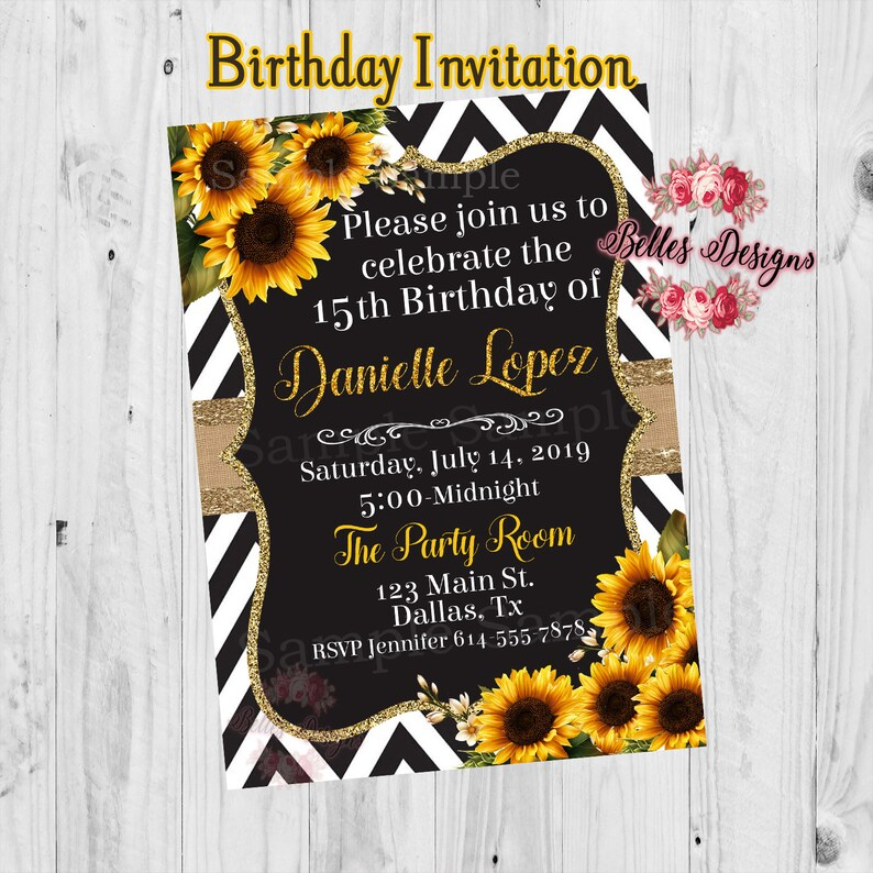 15th Birthday Invitations Sunflower Sweet 16 Party Etsy