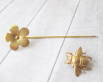 Bee and flower stick pin Gold bar pin Gold Bumblebee lapel pin Brass bug stick brooch Nature Wedding Bridal Gifts for her Women jewelry