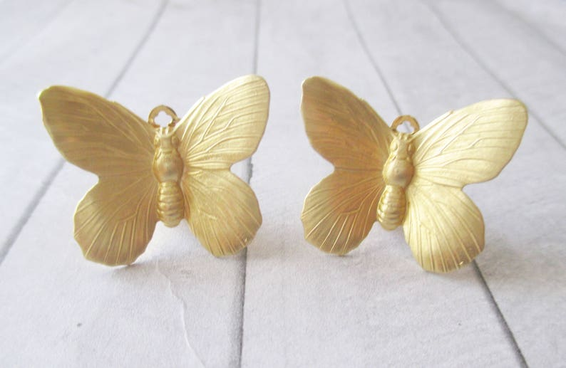 Butterfly earrings Gold Butterfly clip earrings Gold brass earrings Brass Nature Wedding Bridesmaids Bridal Gifts for her