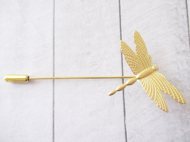 Gold dragonfly brooch Dragonfly Stick pin Lapel pin Brass brooch Nature Wedding Bridesmaids Bridal Gifts for her Accessories Jewelry