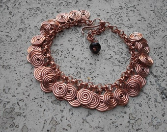 Handmade wire spirals bracelet in laiton/copper/stainless steel/german silver