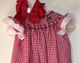 Hand Smocked American Flag Dress with Corresponding Hair Bow - Sibling Outfits Available