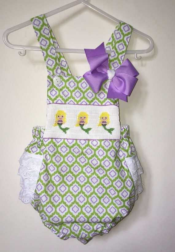 91a7b8f72c5 Hand Smocked Mermaid Beach Bubble with Matching Hair Bow