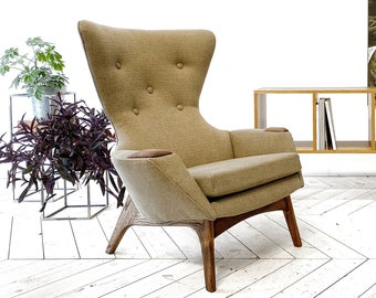 Authentic reupholstered Adrian Pearsall high back armchair