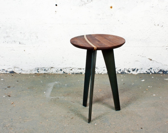 GROGG Stool ⎮ Wood and Steel Walnut Stool Oak Stool Round Bench Side Table End Table | Apartment Furniture