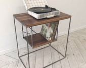 EAST END Record Player & Vinyl Console | Turn-Table Vinyl Furniture Record Shelf Record Player Desk Disk Table Storage Shelving Media Unit