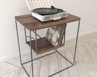 EAST END Record Player & Vinyl Console   Turn-Table Vinyl Furniture Record Shelf Record Player Desk Disk Table Storage Shelving Media Unit