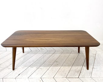Handcrafted black walnut and white oak coffee table