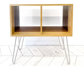 Double Vinyl Unit   Turntable  and Vinyl Disk Console Furniture   Hairpin Legs
