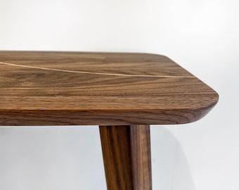 Handcrafted walnut side table with oak insert