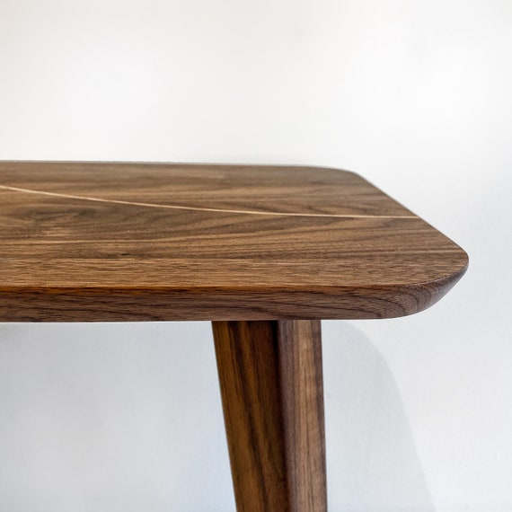 Handcrafted walnut side table with oak insert