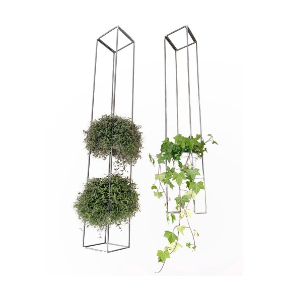 Modern handmade geometric suspended steel plant holder