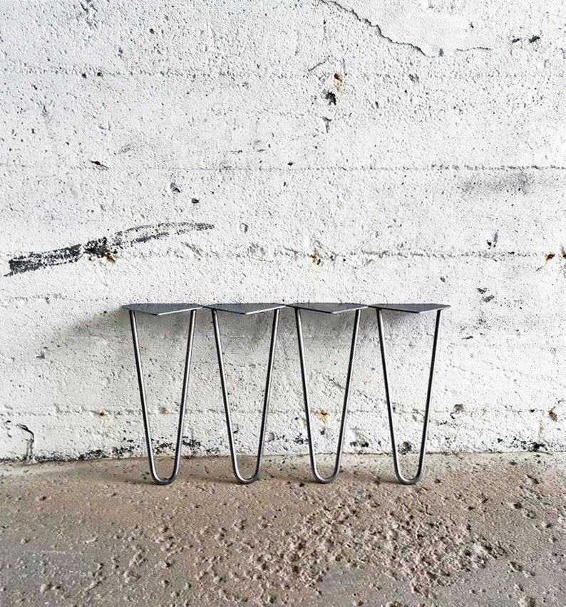 Set of 4 4'' to 20'' Raw Steel Hairpin Legs image 0
