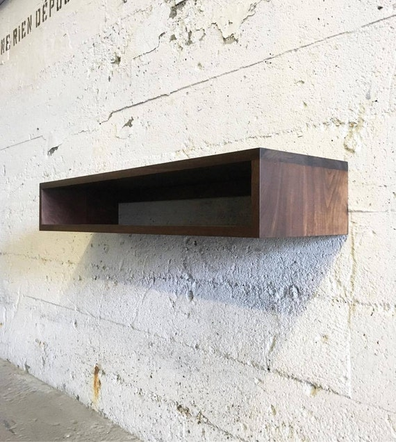 GROGG Floating Console | Floating Shelf | Floating Shelves | Solid Black Walnut Solid White Oak