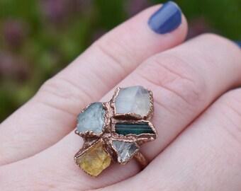 Custom Birthstone Ring, Custom Mom Jewelry, Custom Mothers Ring, Personalized Birthstone, Birthstone Ring Mom, Organic Ring, Present Mom