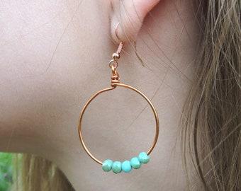 Boho Hoop Earrings, Copper Boho Earrings, Big Boho Earrings, Bohemian Hoop Earrings, Beaded Hoop Earrings, Turquoise Drop Earrings, Hoops